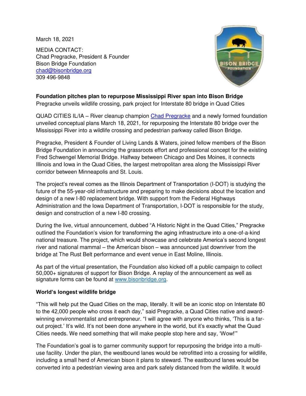 Bison Bridge News Release