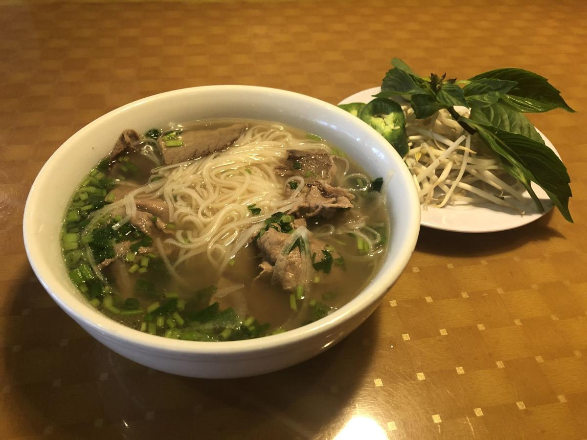 Pho with rare steak and well-done brisket