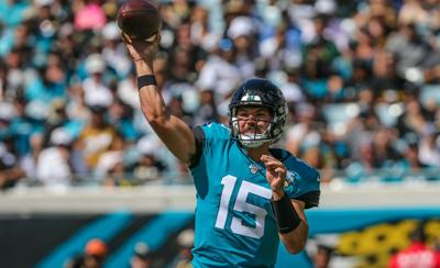 Jacksonville Jaguars quarterback Gardner Minshew (15) throws a pass during the first quarter of an NFL football game against the against the New Orleans Saints at TIAA Bank Field, Sunday, Oct. 13, 2019 in Jacksonville, Fla. Saints won 16-6.