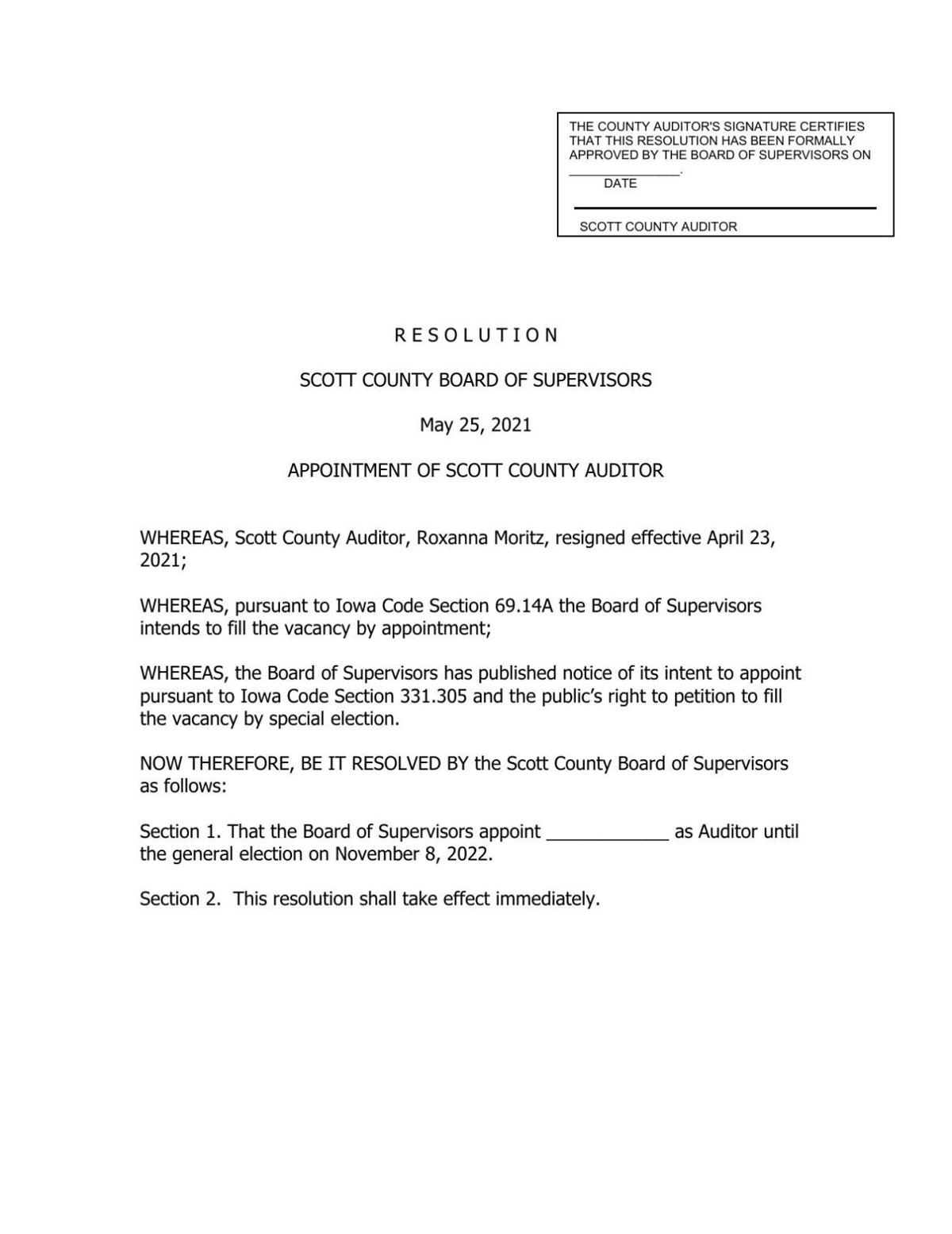 Resolution to appoint new Scott County Auditor