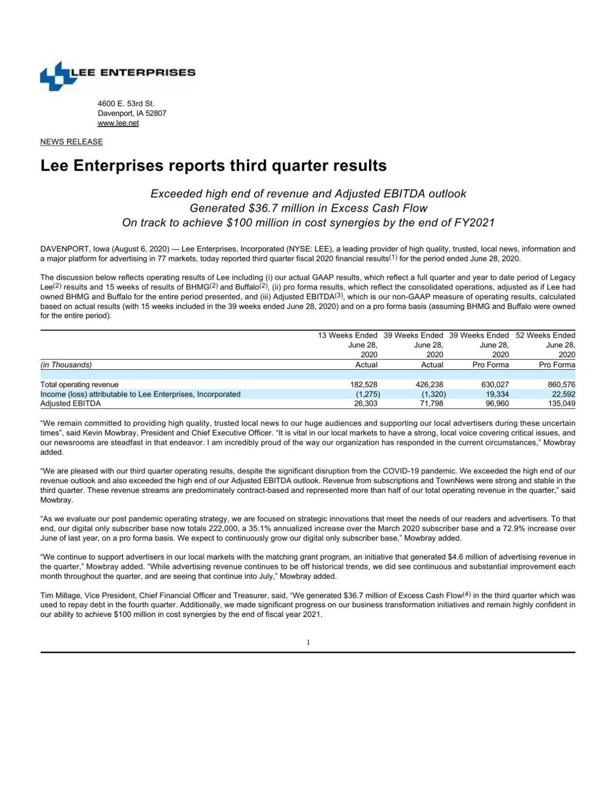 Lee earnings report