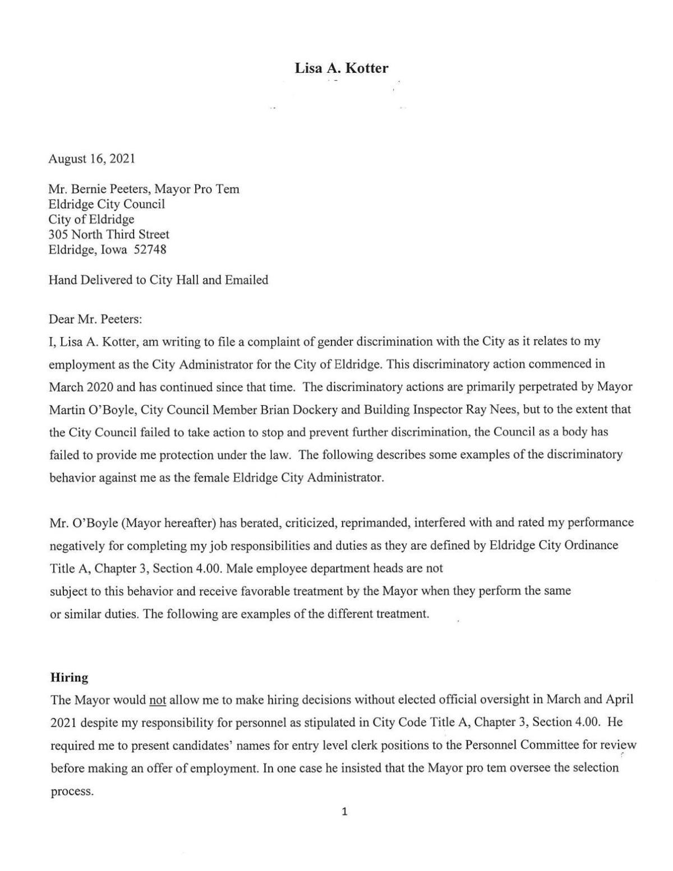 Lisa Kotter discrimination complaint