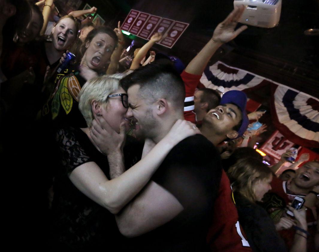 Celebratory kiss