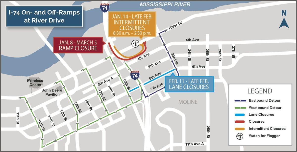 February I-74 bridge project closures