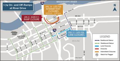 February I-74 bridge project closures