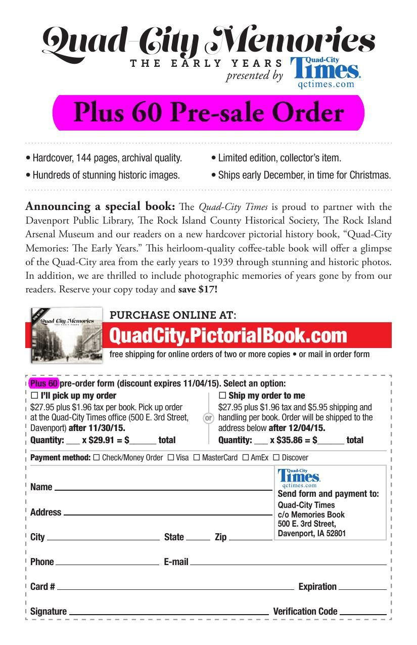 Quad-Cities Memories Book Order Form | Training | qctimes.com on purchase order form, promotional product order form, photography order form, christmas cake order form, contact order form, thirty-one order printable order form, home order form, avon customer order form,
