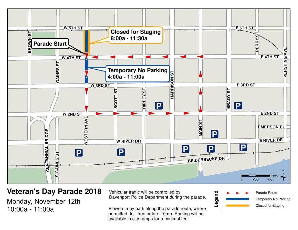 Veterans parade map