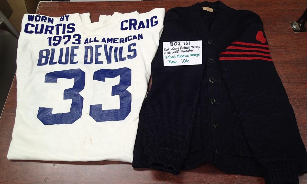 BOX 131 Curtis Craig Football Jersey, CHS Letter Sweater