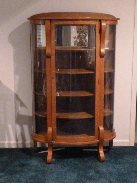 China cabinet, vintage bow front curved glass nice, can e... image - China Cabinet, Vintage Bow Front Curved Glass Nice, Can E... Image 1