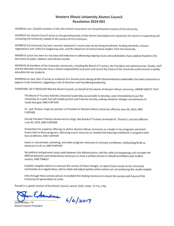 WIU Alumni Council resolution