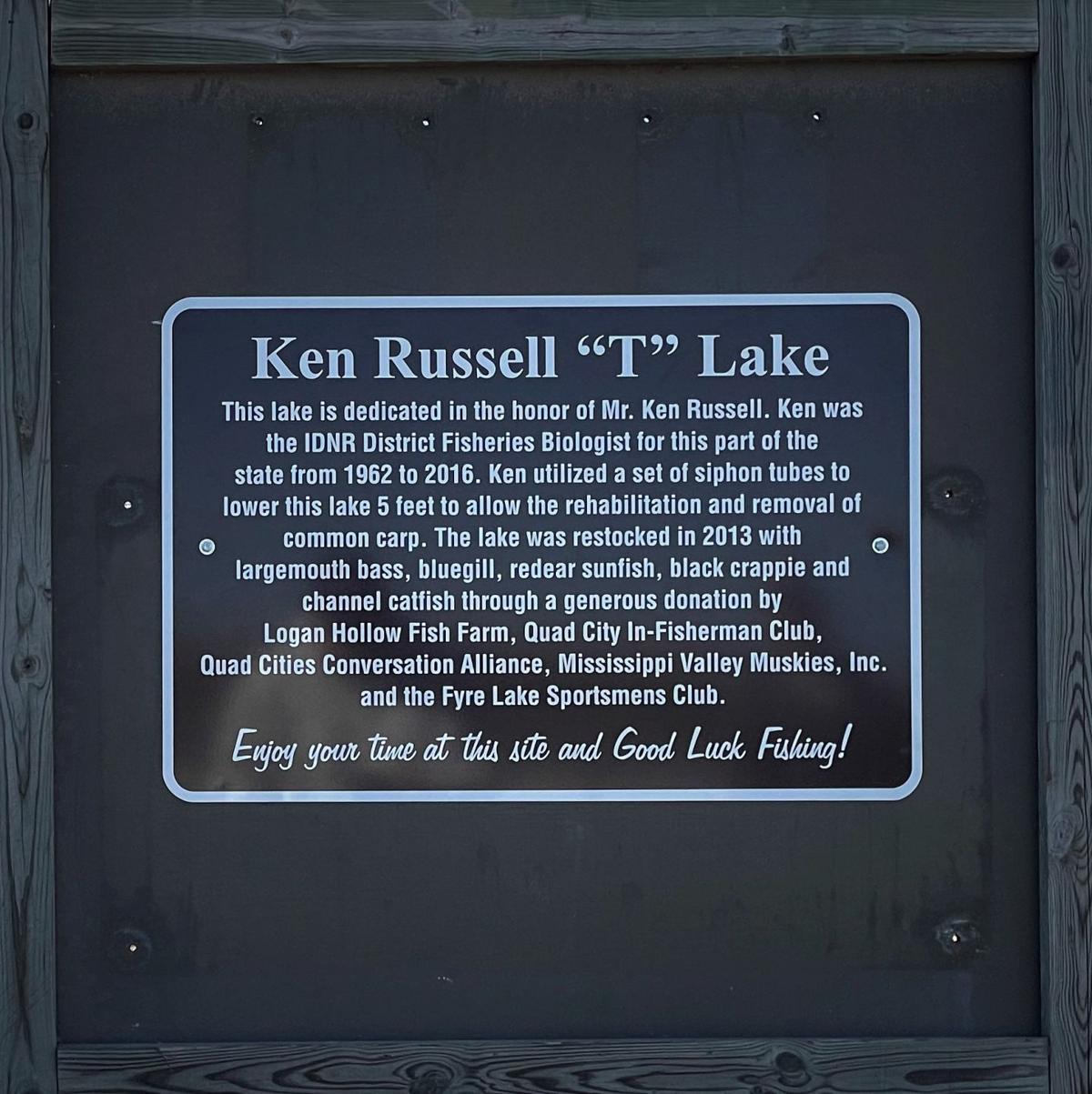 outdoors photo, Ken Russel Lake plaque