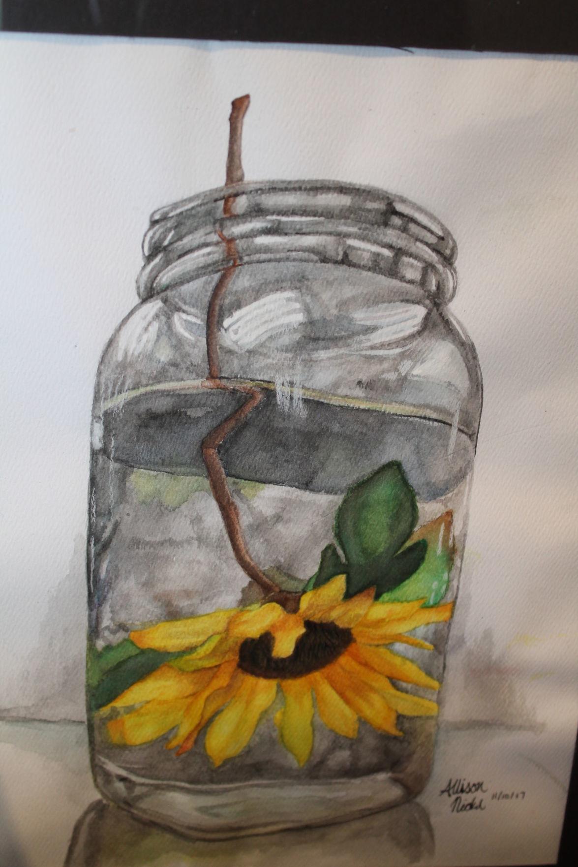 jar with flower
