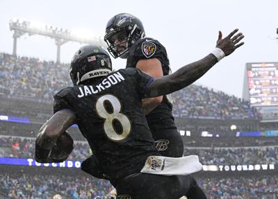 Baltimore Ravens quarterback Lamar Jackson celebrates a touchdown run against the San Francisco 49ers at M &T Bank Stadium in December.