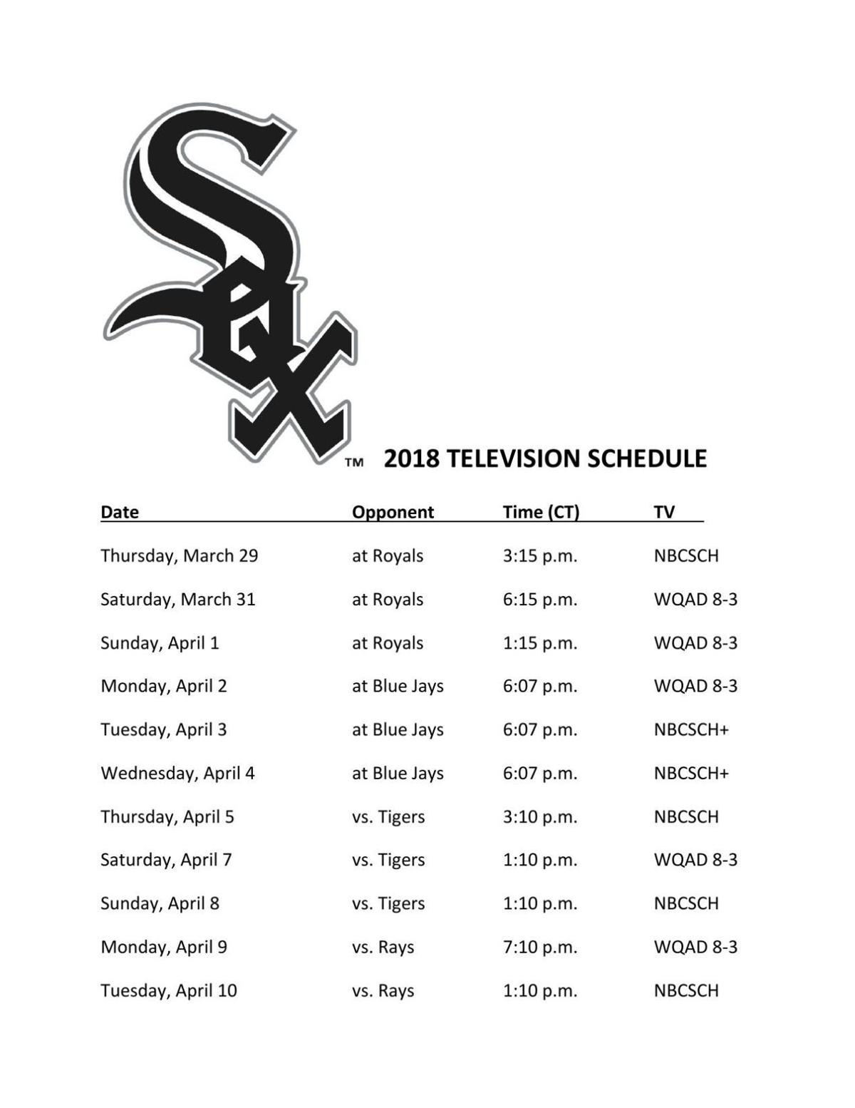 White Sox 2018 TV schedule