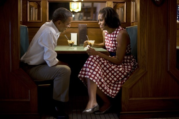 President Barack Obama and First Lady Michelle Obama in Davenport, IA, 8/15/12.