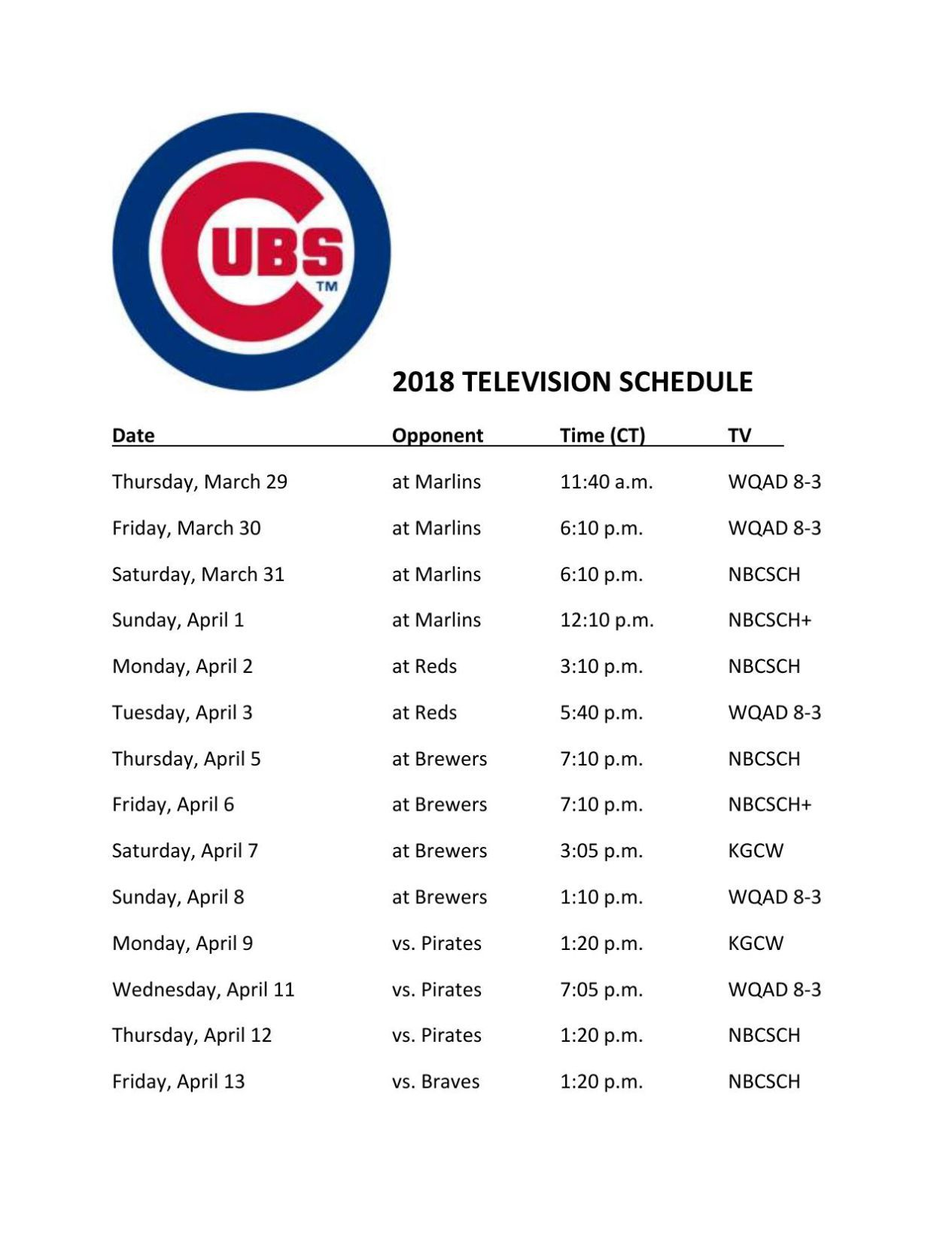 photo regarding Printable Cubs Schedule named Chicago Cubs 2018 Television set plan Educated Baseball
