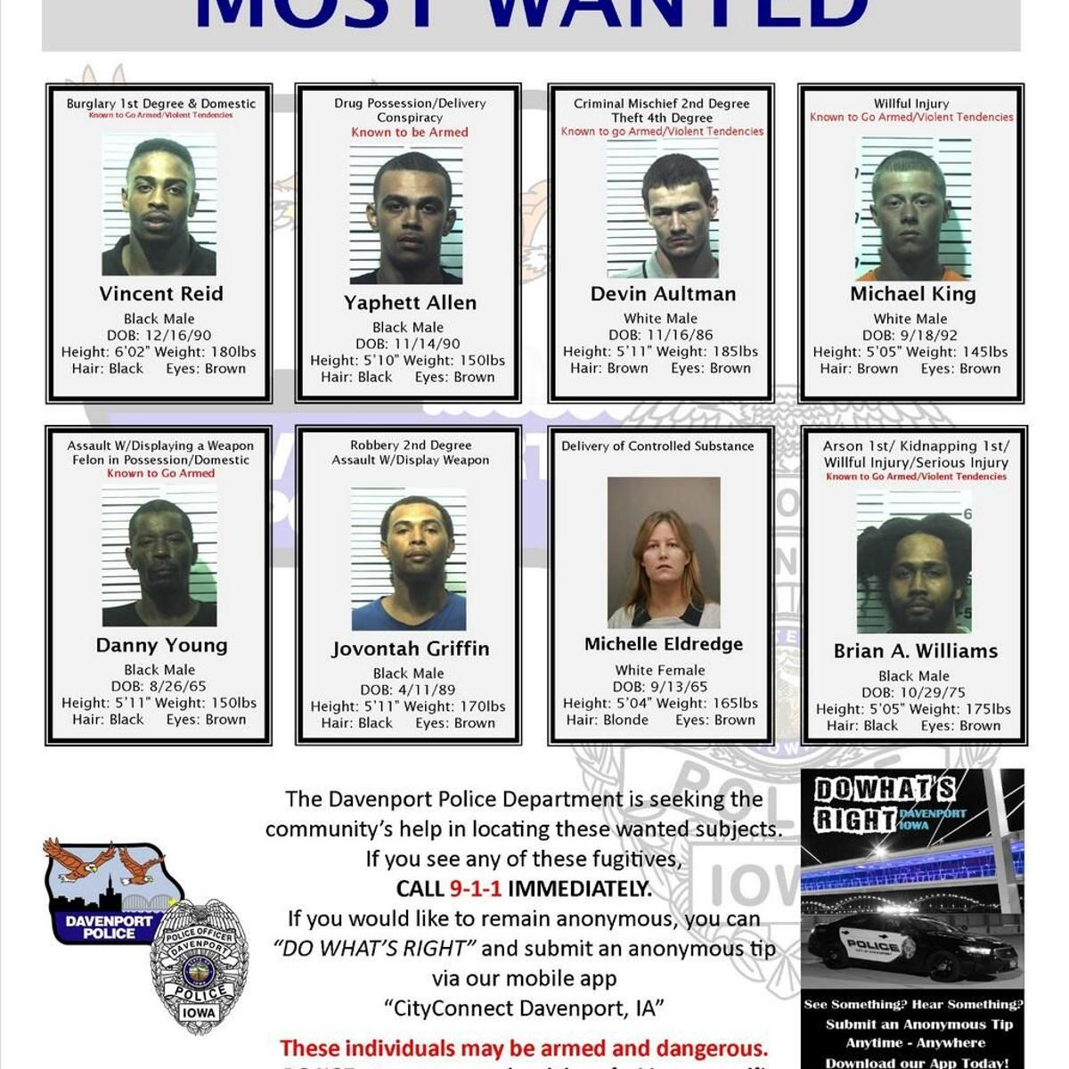 Davenport police release new list of 'most wanted' | Local