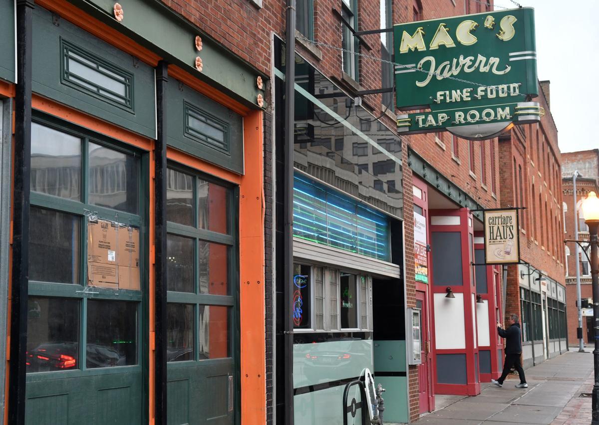 Mac's Tavern damaged by gunfire early Sunday morning.