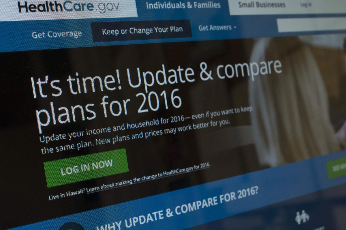 Computer screen healthcare.gov