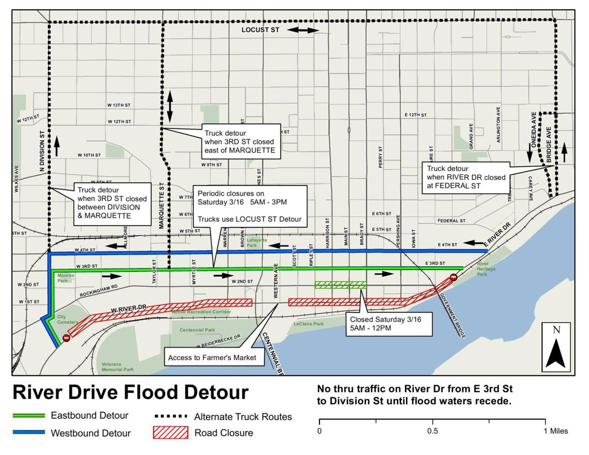 Flood detour map