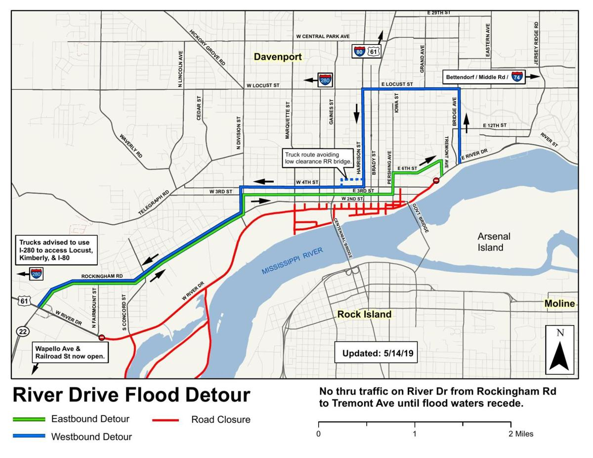 River Drive reopens, detours still in place