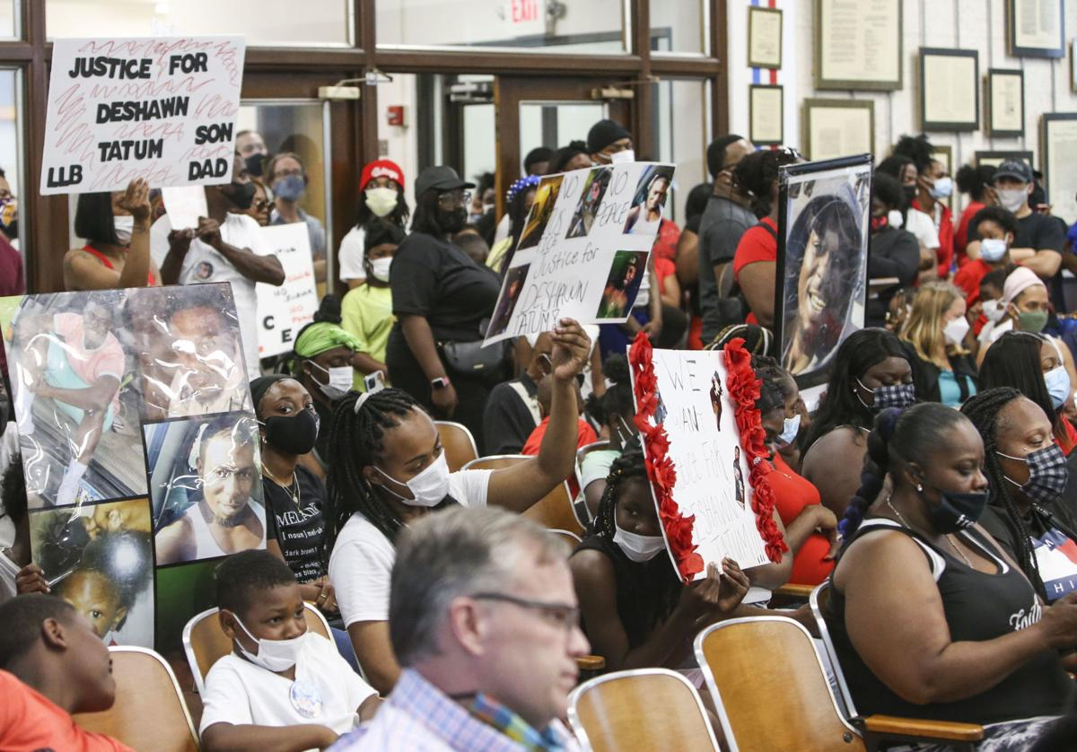 Protest at Rock Island City Council meeting