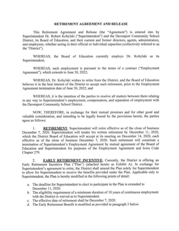 Kobylski Retirement Agreement and release