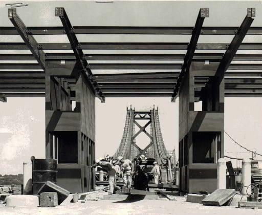Toll booths on I-74 bridge