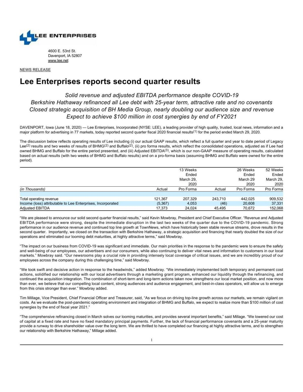Lee Enterprises - Q2 FY20 Earnings Release