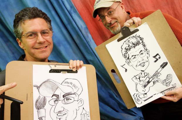 with markers in hand caricature artists make portraits look easy