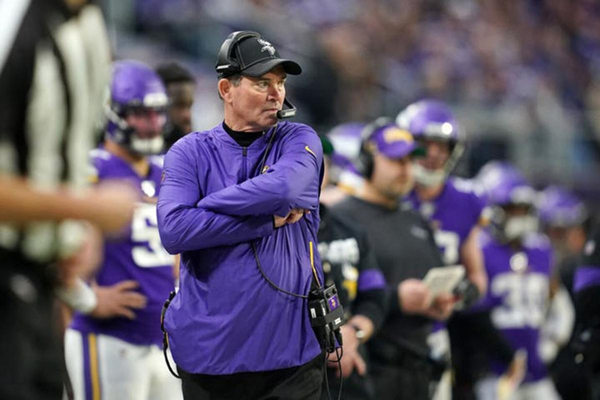 Mike Zimmer watches from the sidelines as the Vikings play the Bears on Dec. 30, 2019.