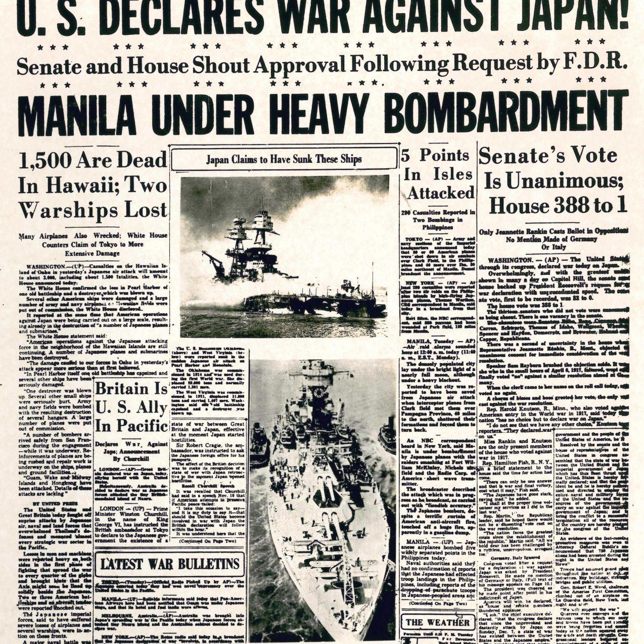 Dec  8, 1941 front page: 1,500 Are Dead in Hawaii