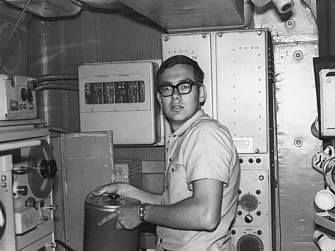 Oliver Williams onboard a ship