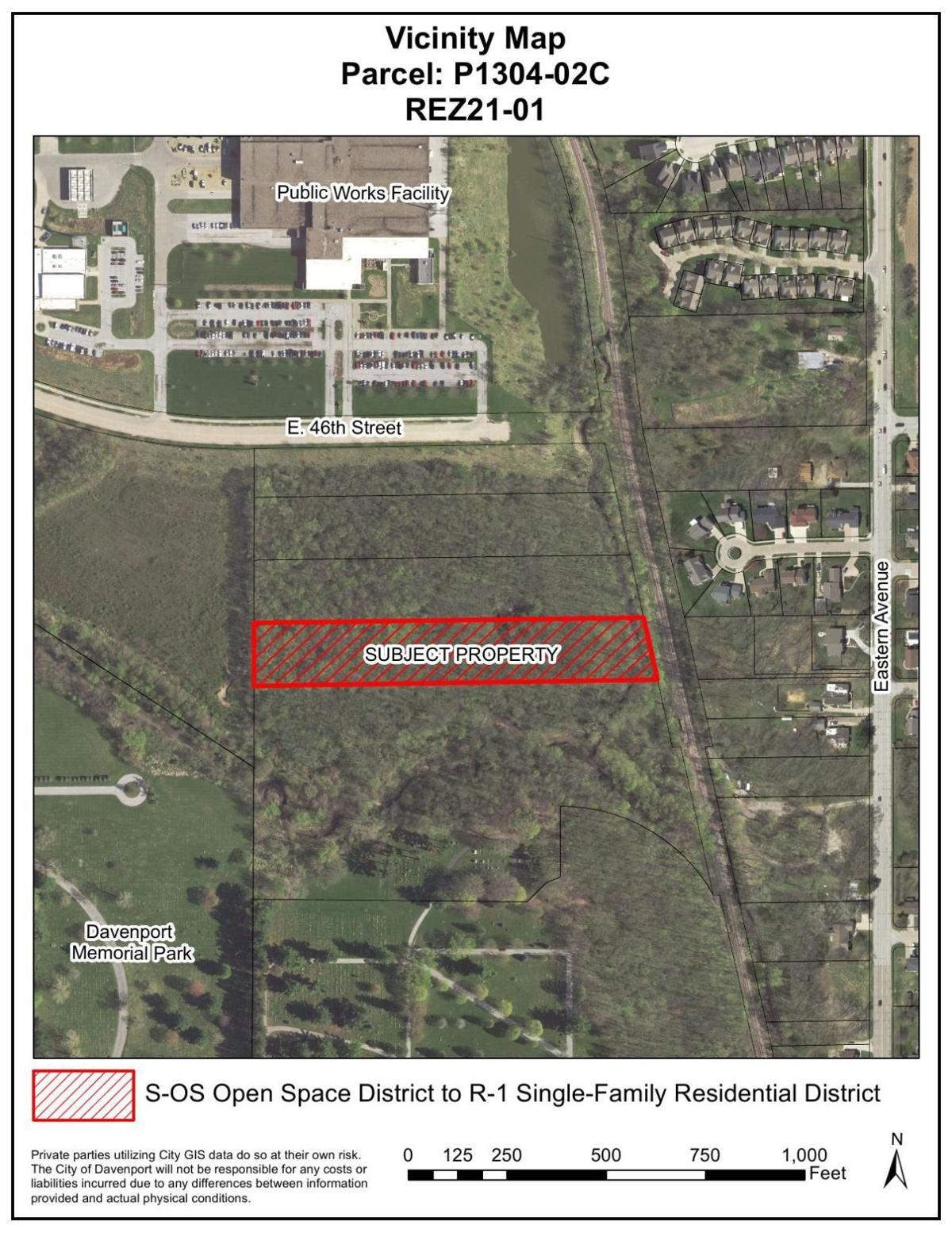 Map of site for planned Davenport church