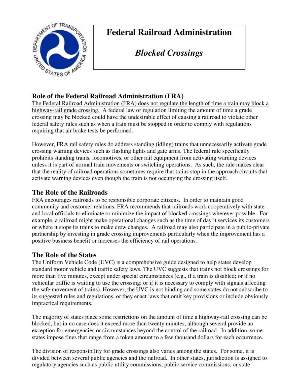 2017 FRA Blocked Crossing Fact Sheet