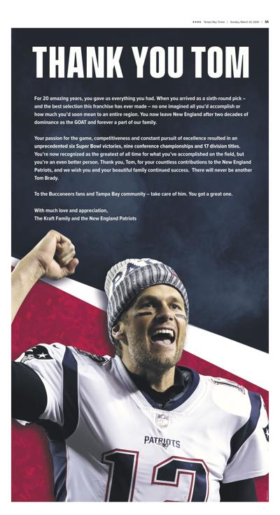 The letter from the Kraft family to Tom Brady in Sunday's Tampa Bay Times.