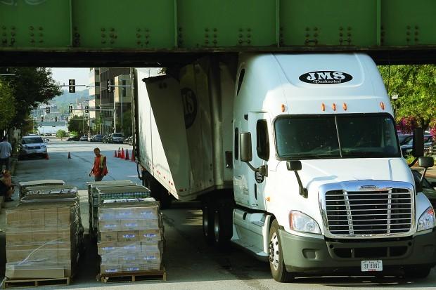 Truck hits Brady Street overpass