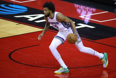Marvin Bagley III of the Sacramento Kings controls the ball during the second quarter of a game against the Houston Rockets at Toyota Center on January 02, 2021 in Houston, Texas.