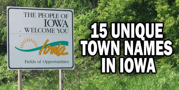 15 unique town names in Iowa