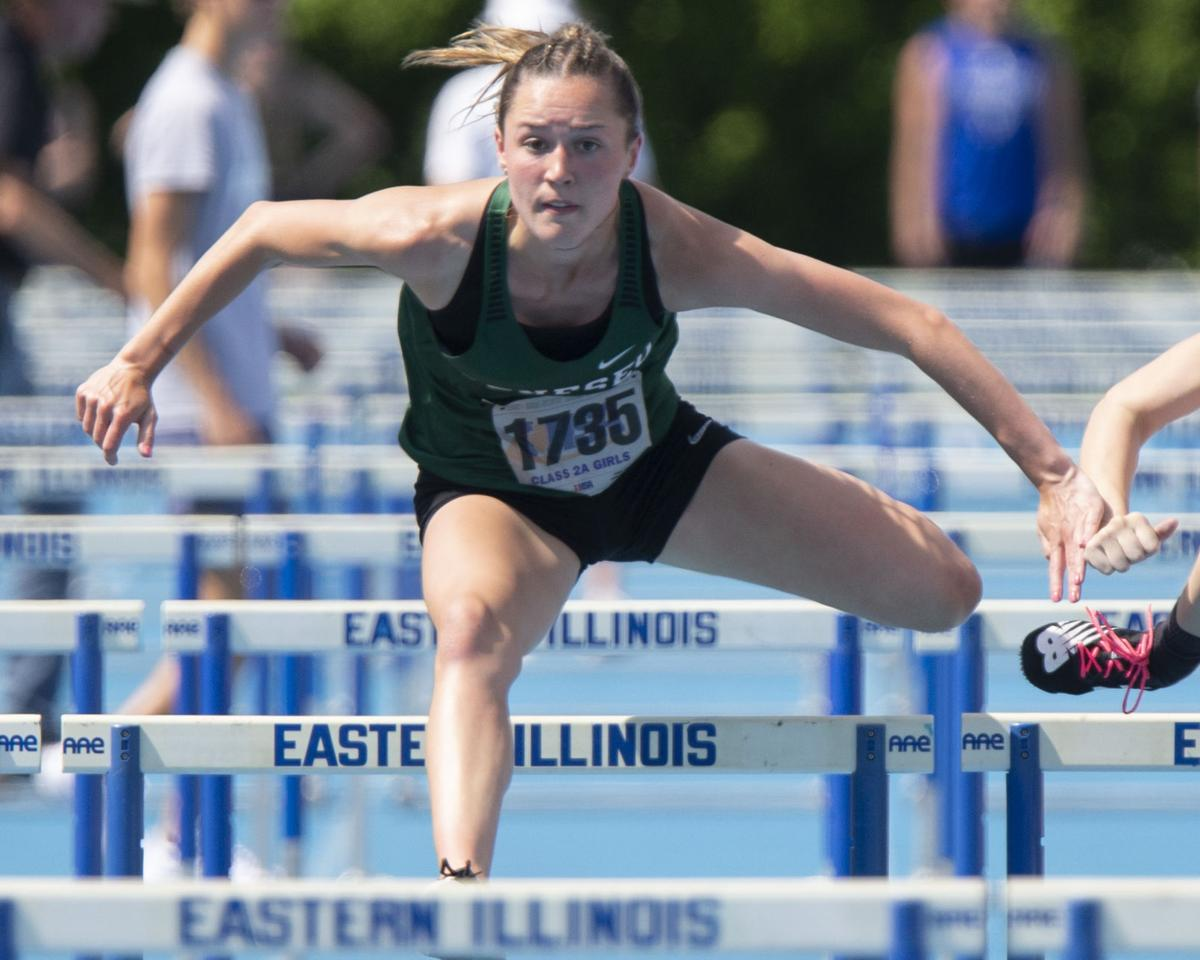 Geneseo's Ali Rapps competes in the Class 2A 100-Meter High Hurdles during IHSA Girls State Track and Field Finals.
