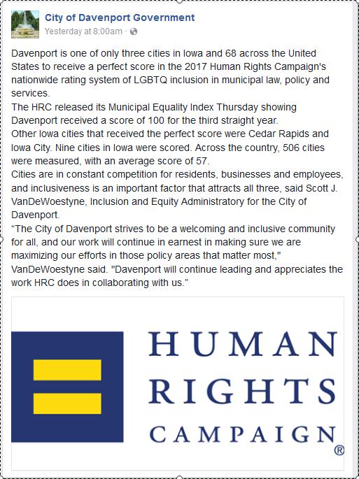 City of Davenport's Facebook post