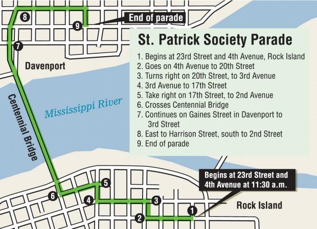 St. Patrick Society Parade Route