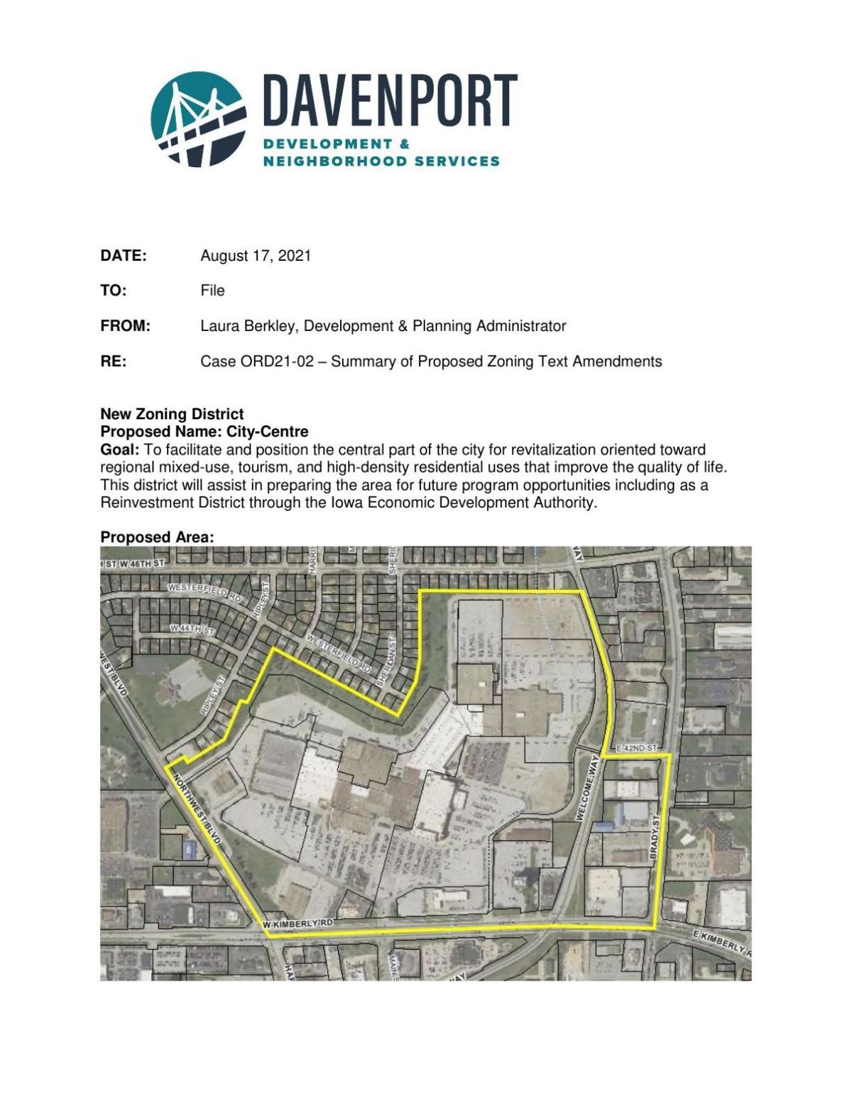 MEMO - New NorthPark Mall zoning district