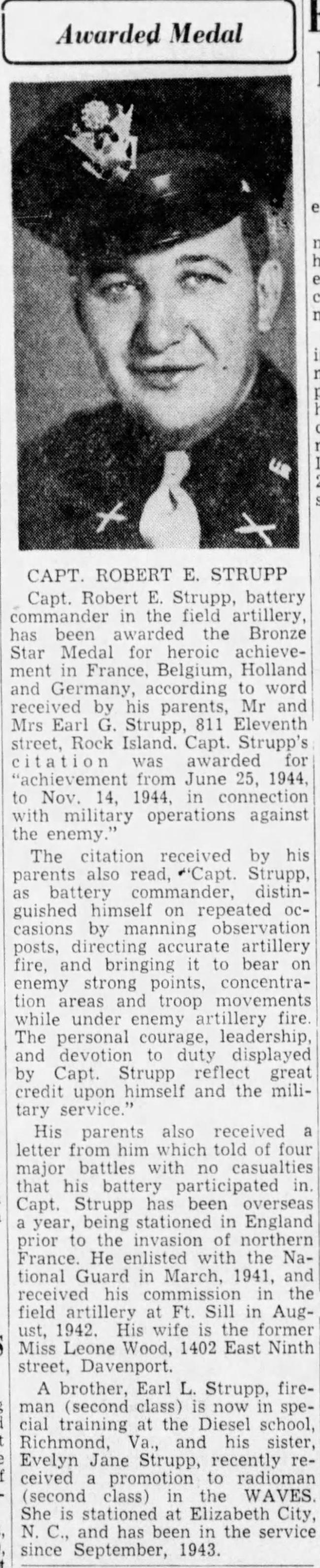 Robert E. Strupp awarded the Bronze Star