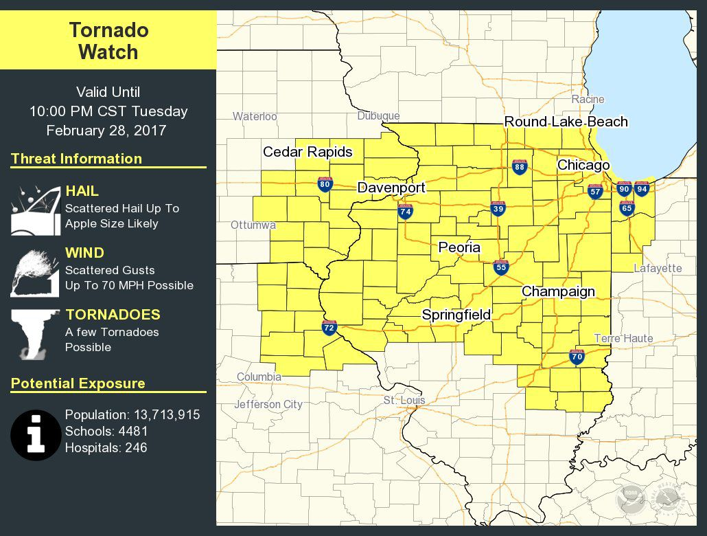 Tornado watch issued until 10 pm for QuadCities  Weather