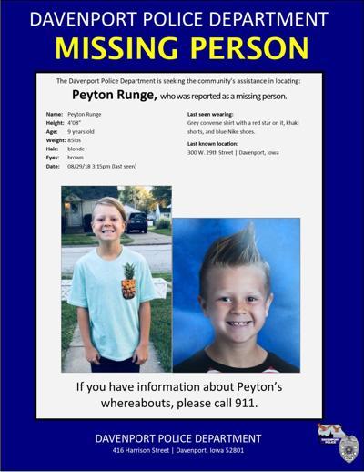 Missing Davenport boy found safe   Local Crime & Courts