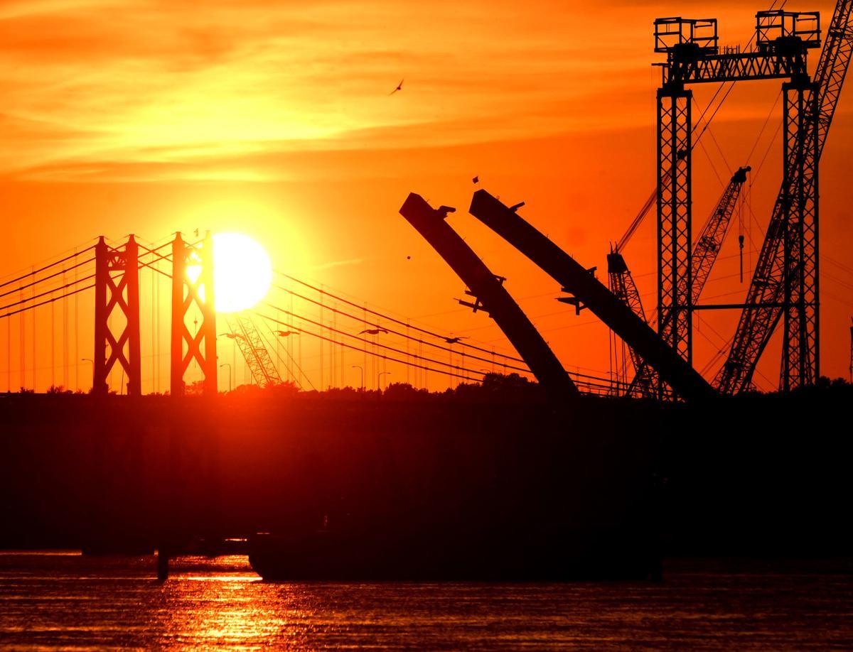 Sunset over the Interstate 74 bridges