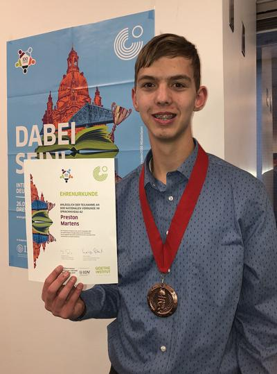 BHS student places in US Finals for the International German Olympics