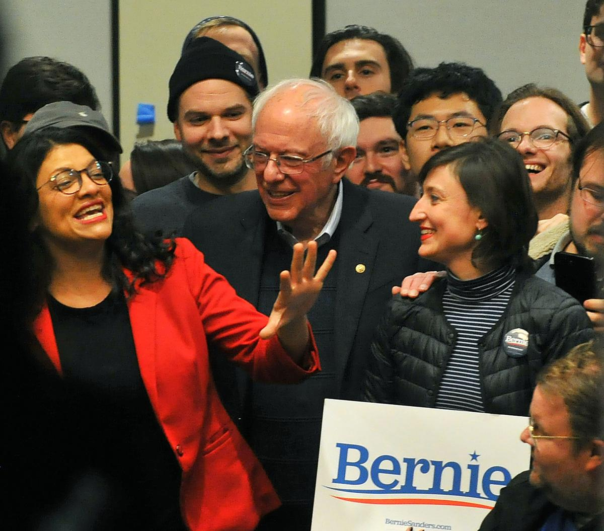 Sen. Bernie Sanders rally with Rep. Rashida Tlaib at St. Ambrose University.