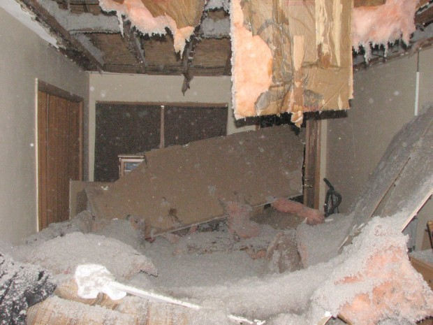 Heavy Rain Causes Ceiling To Crash In